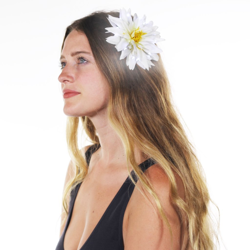 "White Light Up Glowing Hair Flower (5"")-LittleLightLab"