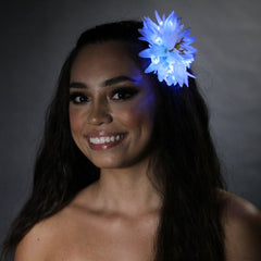 "White Light Up Glowing Hair Flower with Blue Lights (5"")-LittleLightLab"