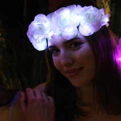 White Rose Light Up Flower Crown-LittleLightLab