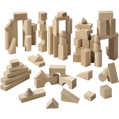 Haba Basic Building Blocks Starter Set (60 pcs) - challenge and fun natural toys - 1