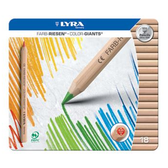 Lyra Color-Giants Unlacquered Colored Pencils in Tin Case - challenge and fun natural toys - 1