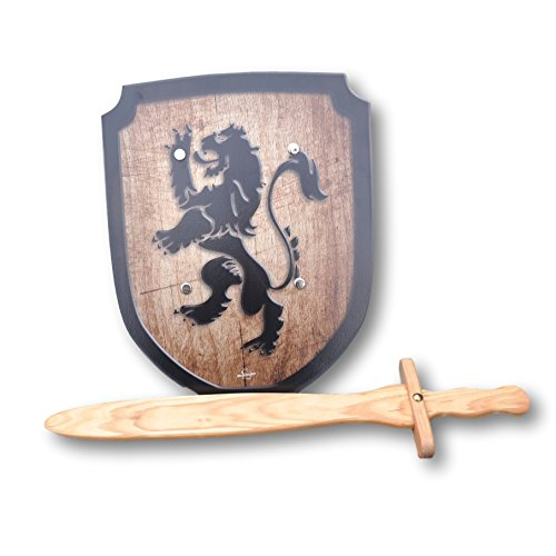 Wooden Sword and Lion Shield Set