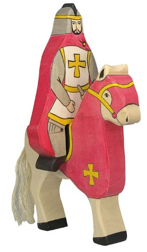 Holztiger Red Knight with Coat Riding Toy Figure
