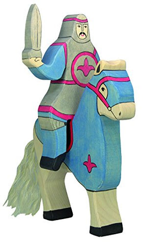 Holztiger Wooden Tournament Horse and Knight with Sword Set BLUE