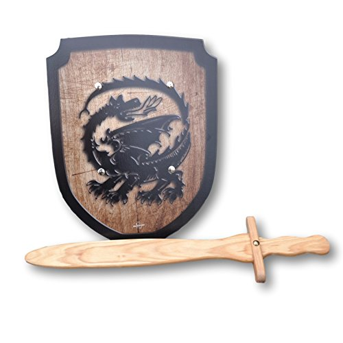 Wooden Sword and Dragon Shield Set
