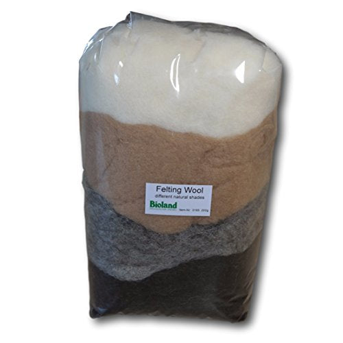 Certified Organic Bioland Felting Wool - Natural Shades 200 grams-Challenge & Fun, Inc.