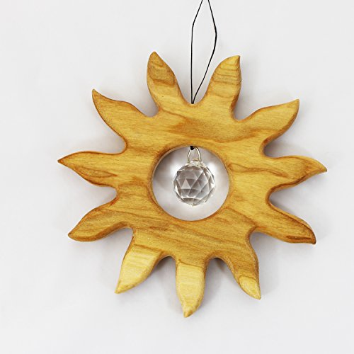 Wooden Sun Window Decoration Suncatcher with Crystal