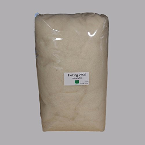 Certified Organic Bioland Felting Wool - Natural White 200 grams-Challenge & Fun, Inc.