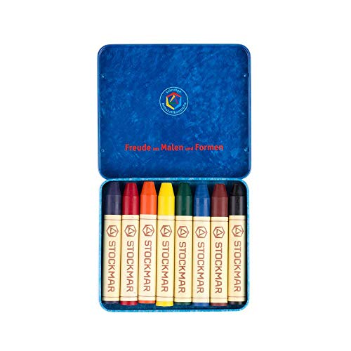 Stockmar Beeswax Stick Crayons in Storage Tin, Set of 8 Colors, Waldorf Assortment-Challenge & Fun, Inc.