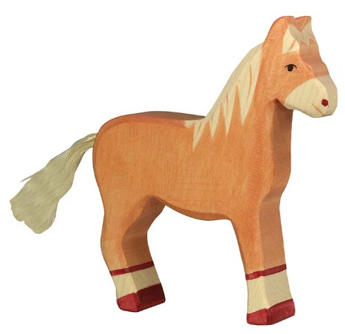 Holztiger Horse Standing Toy Figure, Light Brown