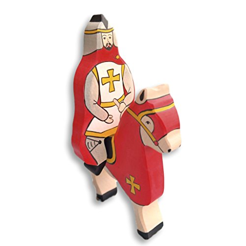 Holztiger Wooden Tournament Knight and Horse Set RED