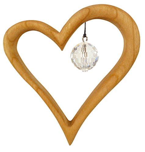 Wooden Heart Suncatcher Window Decoration with Swarovski Crystal
