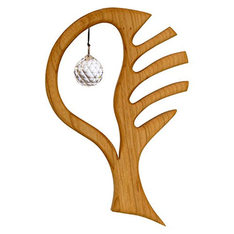 "Wooden ""Tree of Life"" Window Decoration Suncatcher with Swarovski Crystal"