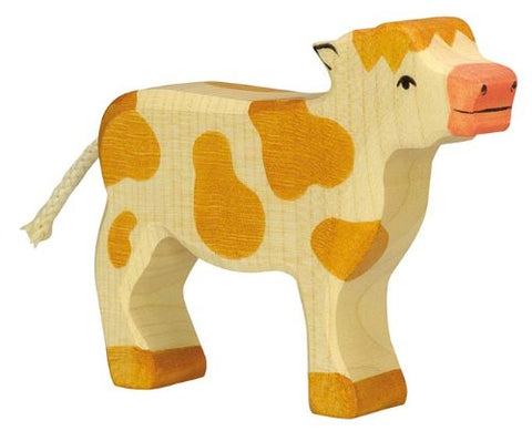 Holztiger Calf Standing Toy Figure, Brown Spotted