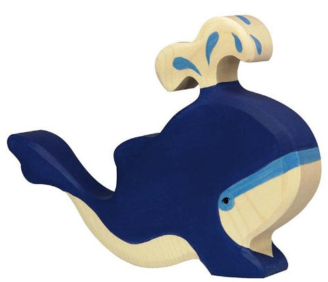 Holztiger Blue Whale with Water Fountain Toy Figure