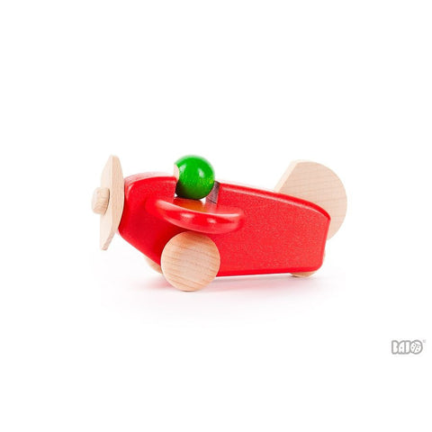 Colorful Wooden Airplane with Pilot by Bajo - challenge and fun natural toys - 1
