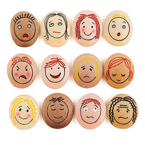 "Yellow Door YD-21 Emotion Stones with Faces Showing Common Emotions, Set of 12, Kindergarten Grade to 3 Grade, 5"" H, 3"" L, 3"" W"