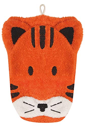 Furnis Organic Cotton, Washcloth Mitt Tiger Puppet, Adult Size