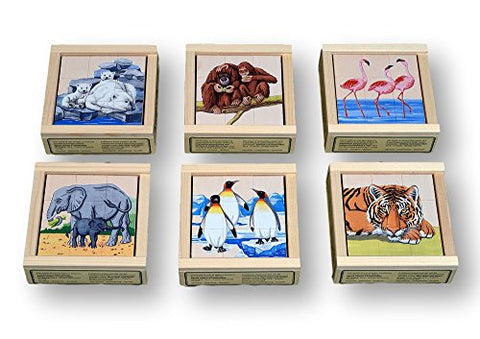 Atelier Fischer Wooden Block Cube Puzzle in Wooden Case - Zoo Animals (9 Pieces)-Atelier Fischer-Challenge & Fun, Inc.