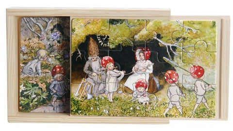 "Elsa Beskow ""Tomtebobarnen"" Children of the Forest Jigsaw Puzzle Set in Wooden Box (4 puzzles - 12 pieces each)"
