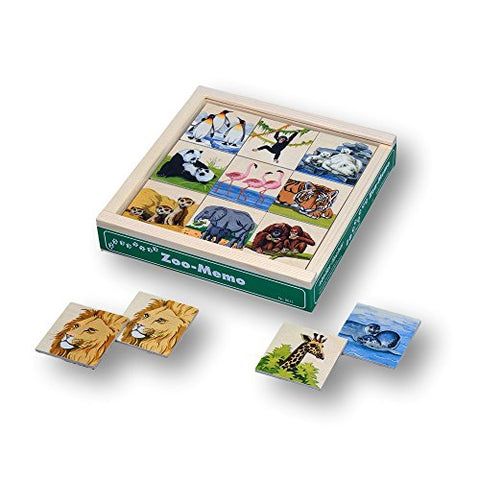 Atelier Fischer Wooden Zoo Memory Game in Wooden Box (48 Tiles / 24 Pairs)-Atelier Fischer-Challenge & Fun, Inc.