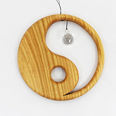 Wooden Yin Yang Window Decoration Suncatcher