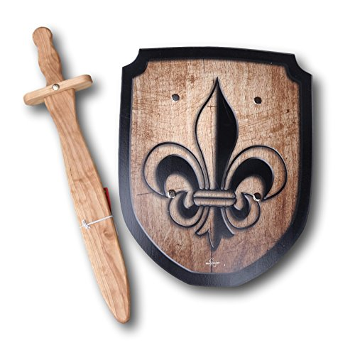 Wooden Sword and Fleur de Lis Shield Set