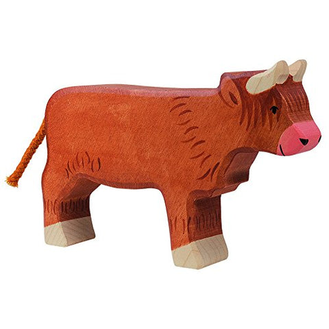 Holztiger Scottish Highland Cattle Standing Toy Figure