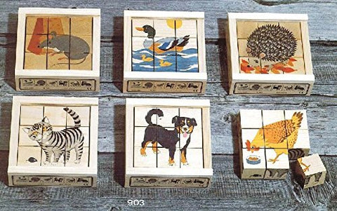 Atelier Fischer Wooden Block Cube Puzzle in Wooden Case - Domestic Animals (9 Pieces)-Atelier Fischer-Challenge & Fun, Inc.