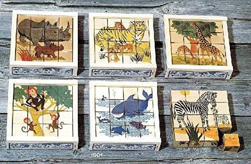 Atelier Fischer Wooden Block Cube Puzzle in Wooden Case - Wild Animals (16 Pieces)-Atelier Fischer-Challenge & Fun, Inc.