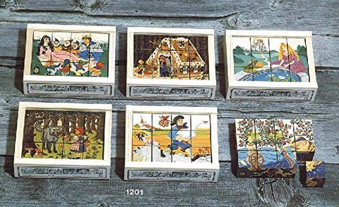 Atelier Fischer Wooden Block Cube Puzzle in Wooden Case - Fairy Tale Scenes (12 Pieces)-Atelier Fischer-Challenge & Fun, Inc.