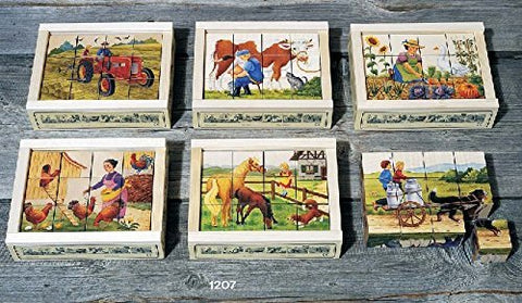 Atelier Fischer Wooden Block Cube Puzzle in Wooden Case - Farm Scenes (12 Pieces)-Atelier Fischer-Challenge & Fun, Inc.