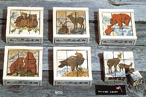 Atelier Fischer Wooden Block Cube Puzzle in Wooden Case - Wild Animals (9 Pieces)-Atelier Fischer-Challenge & Fun, Inc.