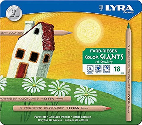 Lyra Color-Giants Unlacquered Colored Pencils, 6.25 Millimeter Cores, Set of 18 in Tin Case, Assorted Colors