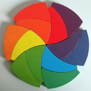 Wooden Trigeod Color Wheel Puzzle and Manipulative Set