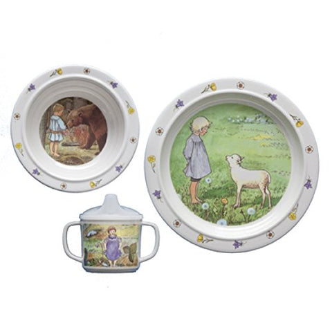 "Elsa Beskow ""Mors Lilla Olle""(Swedish Song) 3-piece Melamine Dish Set"