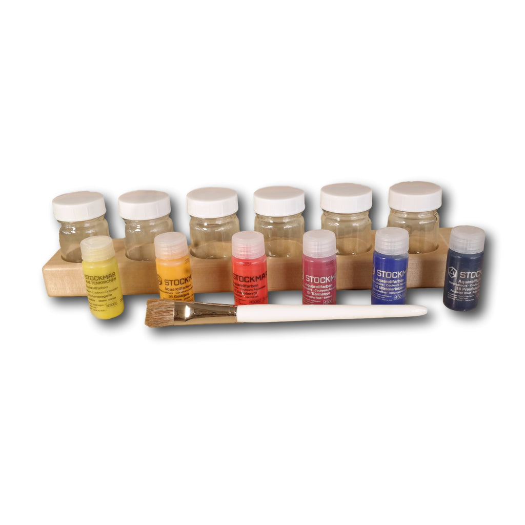 6 Jar Paint Holder with Stockmar Waterpaint and Paint Brush-Challenge & Fun, Inc.