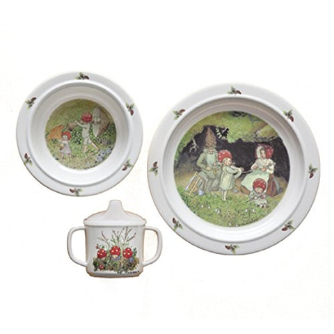 Elsa Beskow Children of the Forest 'Tomtebobarnen' 3-piece Melamine Dish Set