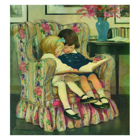 Jessie Willcox Smith Greeting Cards :Reading Book in Chair - challengeandfunretail