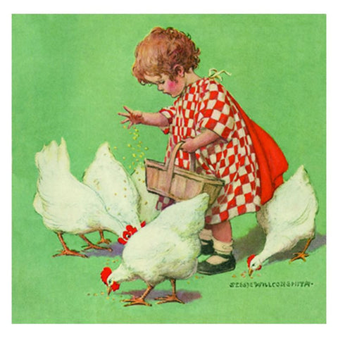 Stretched Canvas: Girl with Chickens - challengeandfunretail