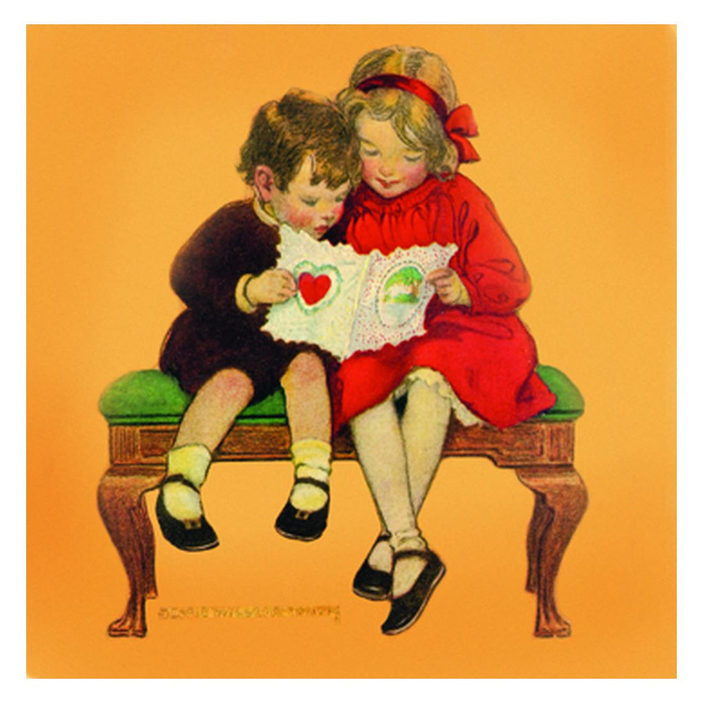Jessie Willcox Smith Greeting Cards : Boy and Girl with Valentine - challengeandfunretail