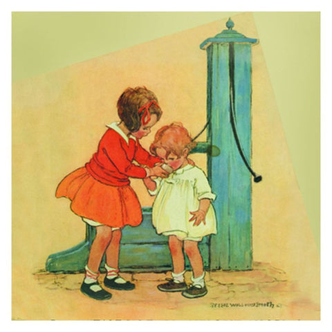 Jessie Willcox Smith Greeting Cards : Girls at Waterpump - challenge and fun natural toys
