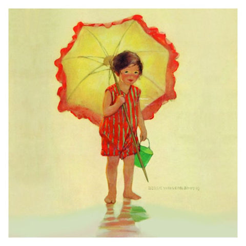 Jessie Willcox Smith Greeting Cards : Girl with Umbrella - challenge and fun natural toys