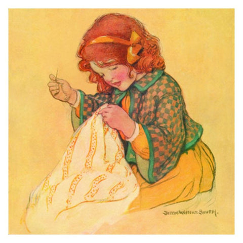 Jessie Willcox Smith Greeting Cards : Girl with Sewing - challengeandfunretail