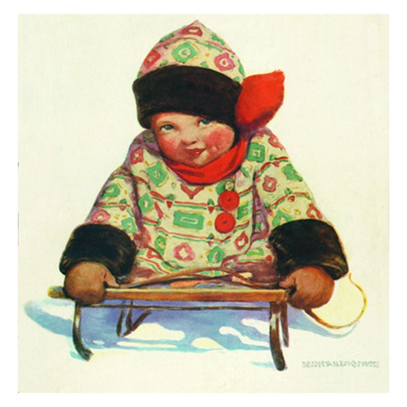 Jessie Willcox Smith Greeting Cards : Girl on Sled - challenge and fun natural toys