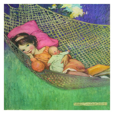 Stretched Canvas: Girl With Doll in Hammock - challengeandfunretail