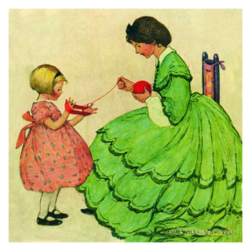 Jessie Willcox Smith Greeting Cards : Woman and Girl with Wool - challengeandfunretail