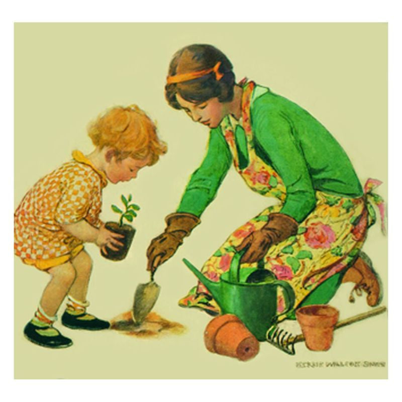 Jessie Willcox Smith Greeting Cards : Girl and Mother Garden - challengeandfunretail