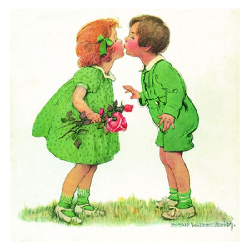 Jessie Willcox Smith Greeting Cards : Children Kissing - challenge and fun natural toys