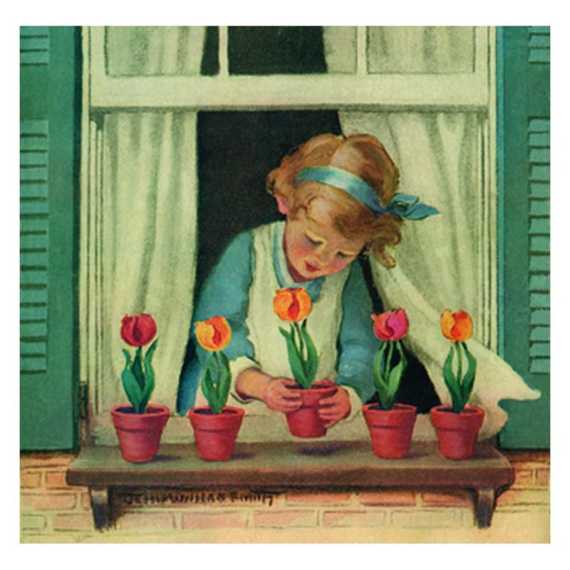Stretched Canvas: Girl with Tulips - challengeandfunretail